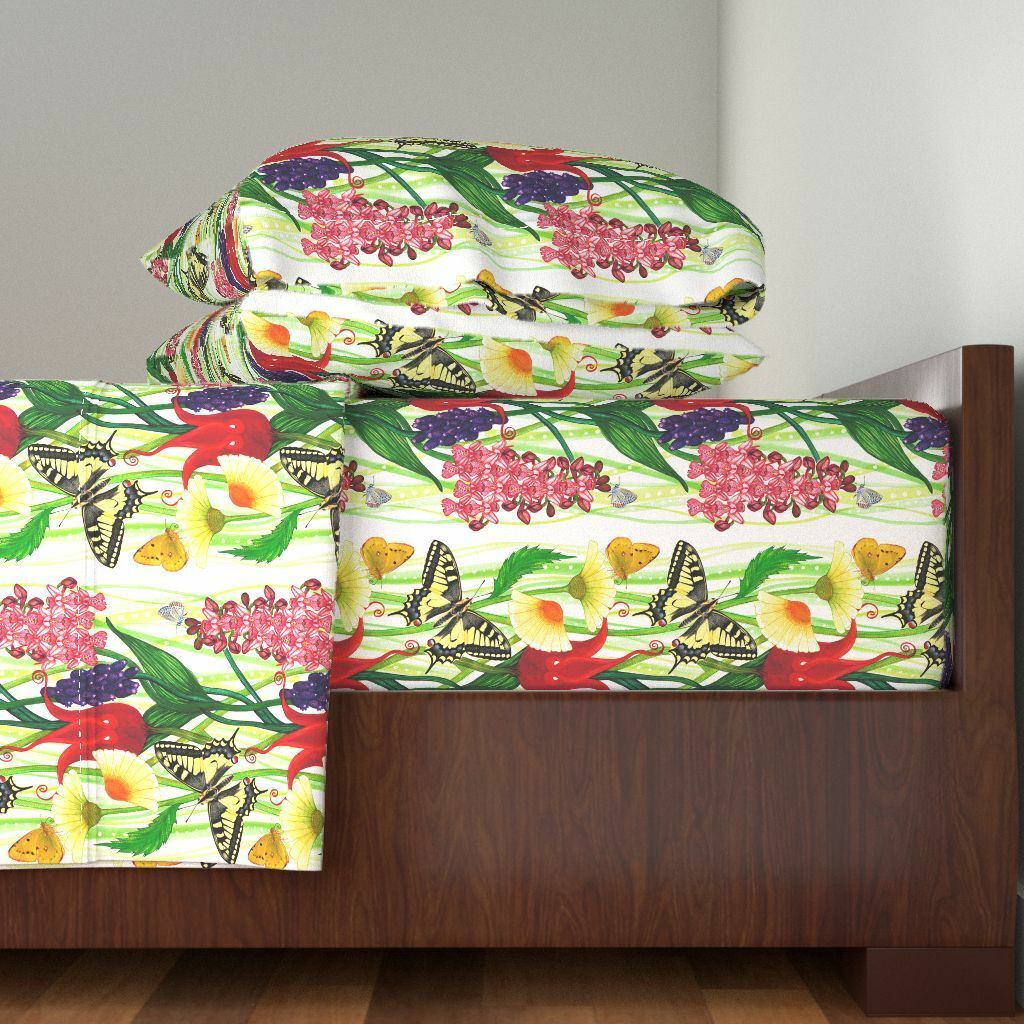 Lesbos Lesbian Flower Insect Butterly Cotton Sateen Sheet Set by Roostery