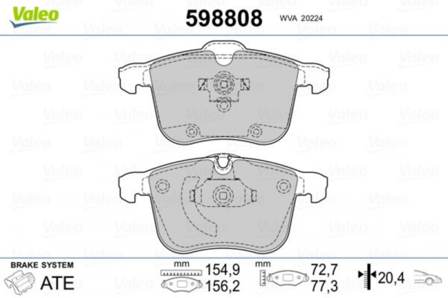 Bremsbelagsatz, Scheibenbremse VALEO 598808 vorne für CADILLAC HYUNDAI OPEL SAAB
