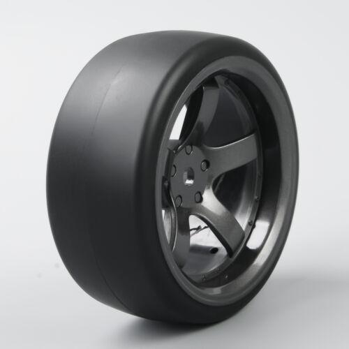 4Pcs RC Car Flat Tires/&Wheel Rim 12mm Hex D5M For 1//10 On-Road Drift Car Tyres