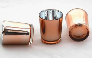 3-Copper-Glass-Wedding-Party-Table-Event-Tealight-votive-candle-cup-jar-holder