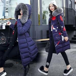 Donna-Inverno-Giu-Cotone-Caldo-Giacca-Con-Cappuccio-Cappotto-Lungo-Collo-In-Pelliccia-Parka-Outwear