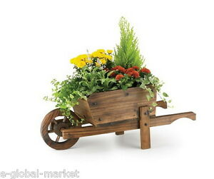 Wooden wheel barrow planter garden plants flower pot for Fioriera carriola