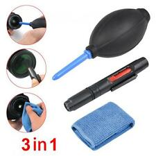 3 in 1 Lens Cleaning Cleaner Dust Pen Blower Cloth Kit Set DSLR VCR Canon
