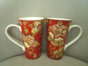 Two-222-Fifth-GABRIELLE-RED-tall-latte-mugs-coffee-cocoa-EC