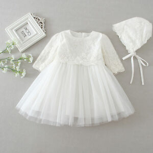 Floral Lace Christening Dress New Born Baby Christening Gown Ivory