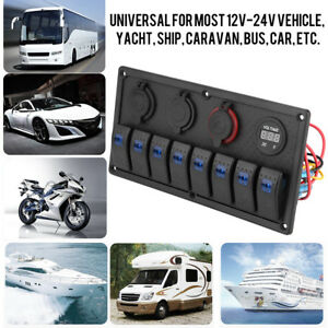 8-Gang-Pannello-Interruttori-2-USB-LED-Con-Accendisigari-Per-Auto-Barca-12-24V