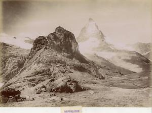 Suisse-Riffelhorn-Alpes-valaisannes-vue-panoramique-Vintage-albumen-print
