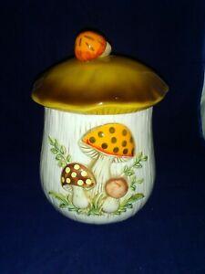 Sears-Vintage-Merry-Mushroom-Ceramic-Large-Canister-Cookie-Jar-11-034-tall-EUC