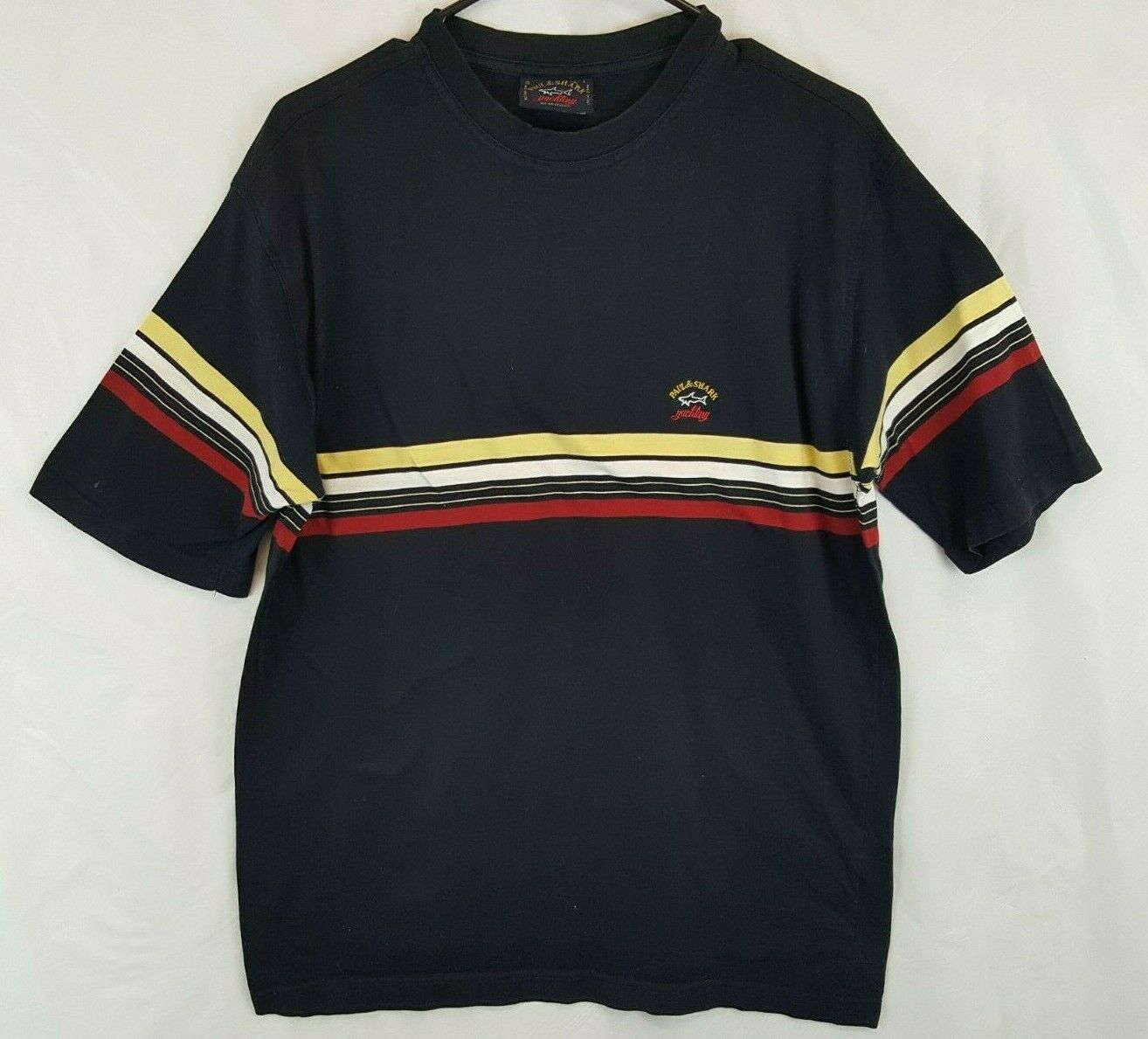 PAUL & SHARK YACHTING T SHIRT L Navy Retro Striped Vtg