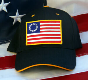 BETSY-ROSS-BLACK-HAT-US-FLAG-PATCH-13-STARS-PIN-UP-TEA-PARTY-USA-NIKE-CAP-WOW