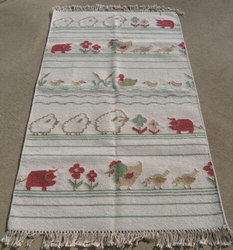 Great Hand Woven Flat woven Dhurrie Rug Carpet Farm Animals Sheep Pig Wool 3x5ft