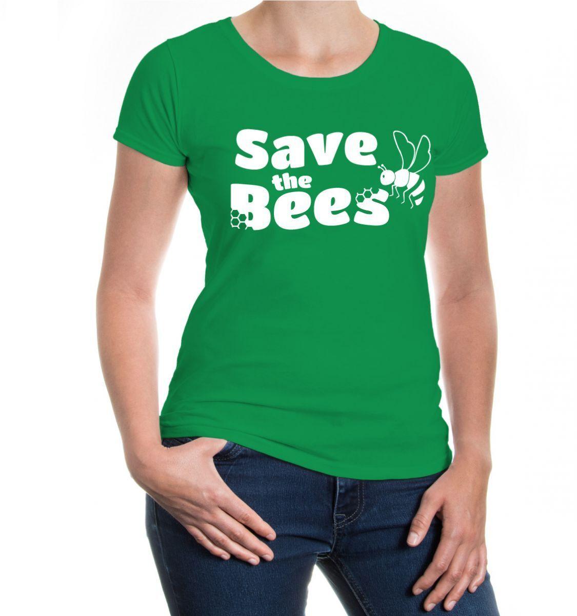 Damen Kurzarm Girlie T-Shirt Dont worry bee happy Biene Bienen Imker Bienenhonig