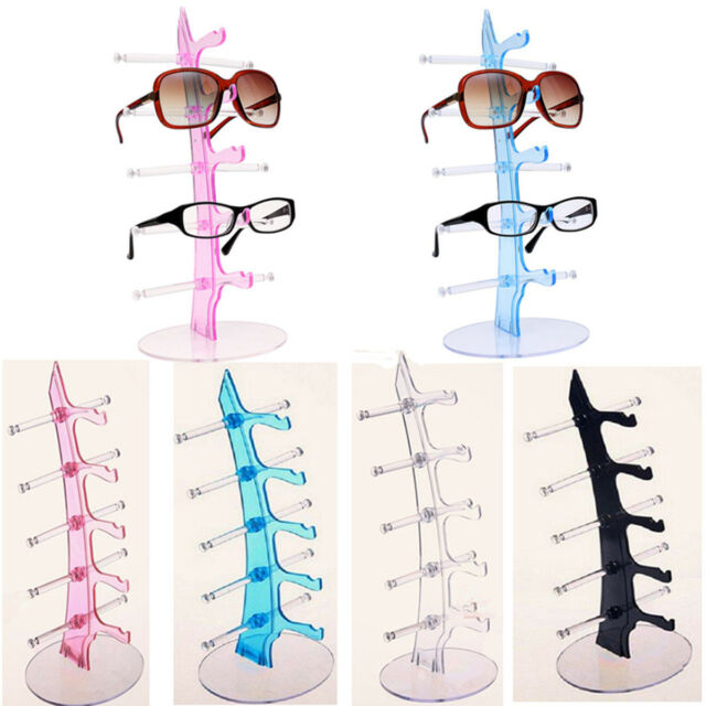 Fashion Plastic 5 Pair Sunglasses Glasses Show Rack Counter Display Stand Holder
