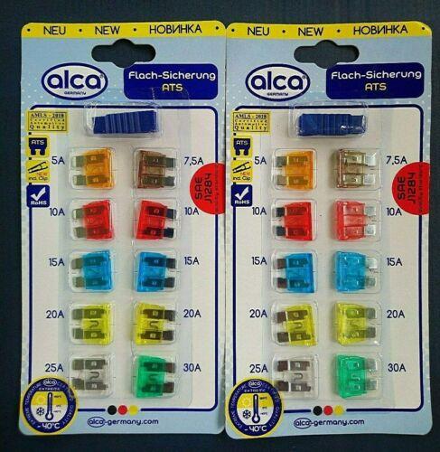 1,99€//Einheit 2x Set 10-teilig alca® Fuse ATS Flach Sicherung Stecksicherungen