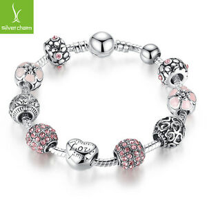 Free-Shipping-Jewelry-925-Silver-Charms-Bangle-bracelet-With-Pink-Clear-Crystals
