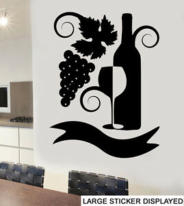 Abstract Wine & Grape Design Wall Art Vinyl Stickers Glass Transfer ...
