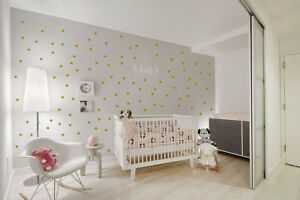 Details About Metallic Gold 100 Polka Dots Vinyl Wall Decals Nursery Decor Home