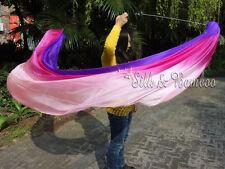 2pcs 2.3m*0.9m purple-hot pink-pink silk veil poi+bag, steel chain,edges rolled