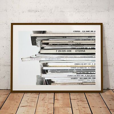 NEW Vintage Record Stack Music Print by BespokeMoments