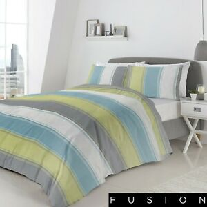 Fusion-BETLEY-Striped-Duvet-Cover-Bedding-Bed-Set-Green-Single-Double-King