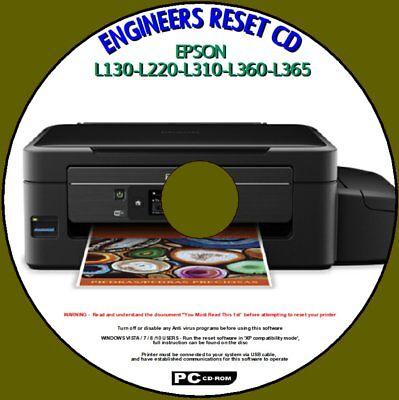 Epson L130 L220 L310 L360 L365 Printer Waste Ink Pad Saturated Engineer Reset Cd Ebay