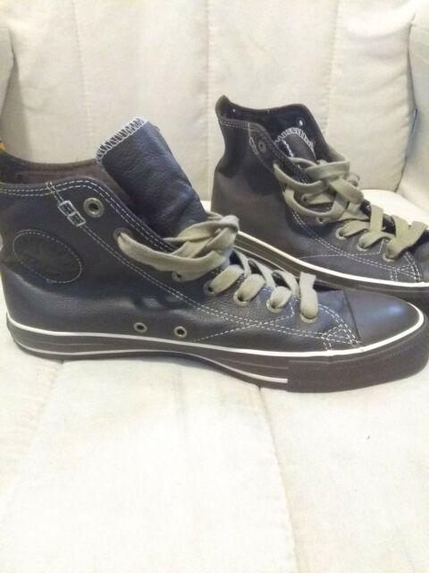 RARE Converse Chuck Taylor All Star Brown Leather Hi Top Men's Shoes 1J857 Sz 9