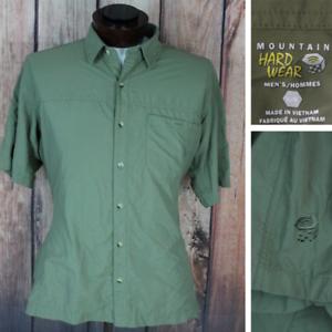 Mountain-Hardwear-Short-Sleeve-Button-Front-Hiking-Shirt-Green-Size-Medium-Large