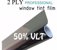 50% Vlt Black Car Window Tint Film Pro Dyed 24 X 25' Roll Uv Protection