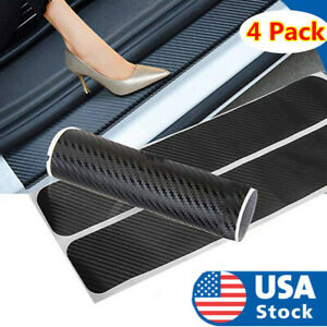 Auto Trunk Protection Strip Car Plate Sticker Sill Scuff Cover 3D Carbon Fiber