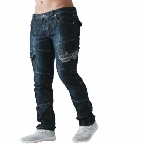 Mens Crosshatch Nouveau Cargo Combat Foncé Lavé Jambe Droite Jeans