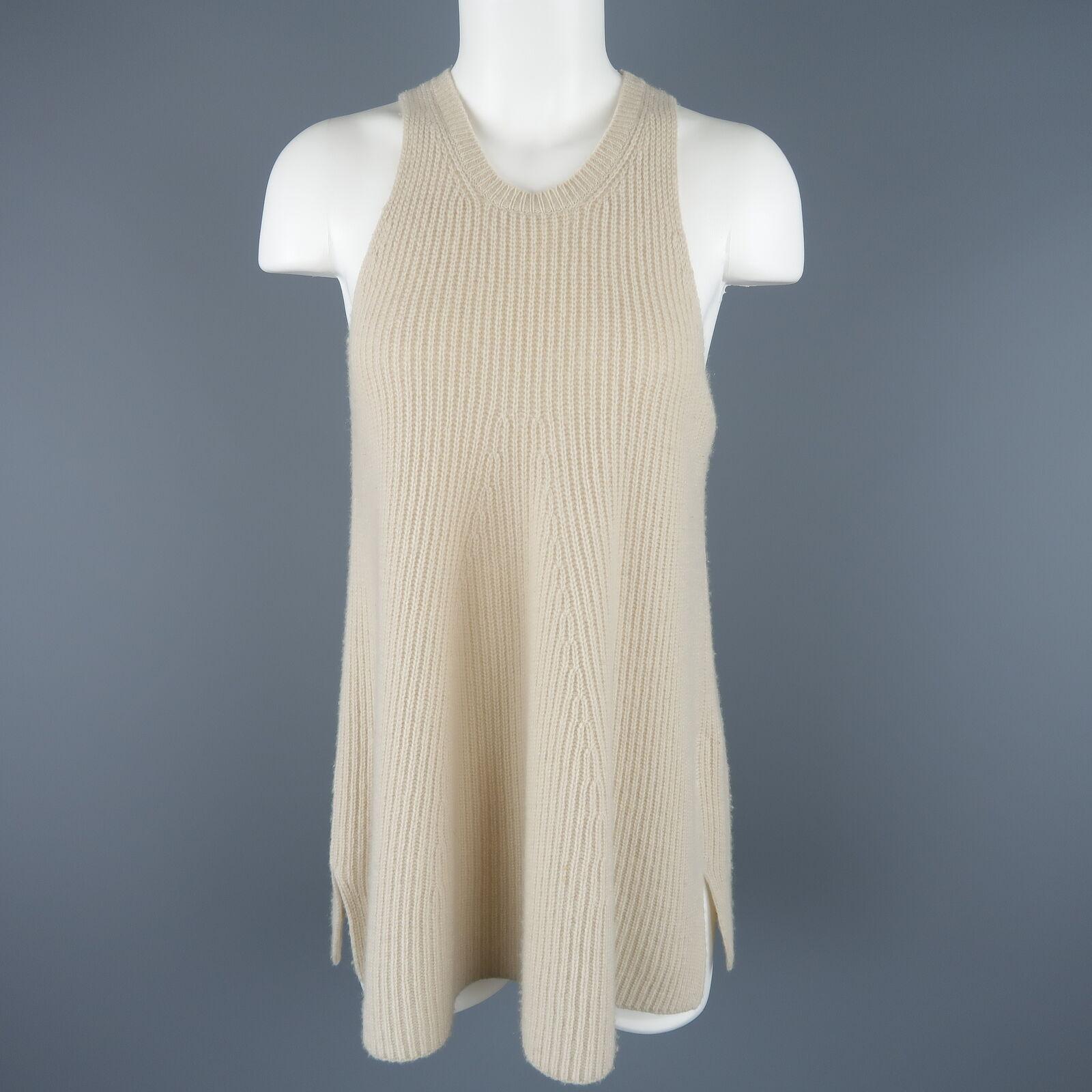 THE ROW Größe S Beige Knit Racer Cut A Line Tank Top Vest