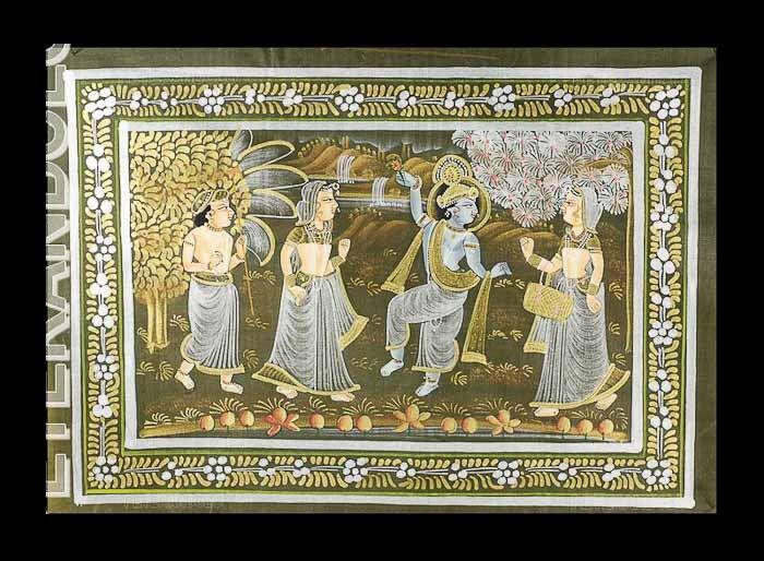 Batik Tenture Murale Peinture Sur Soie Art Moghole Inde 39x20cm  C11 1209