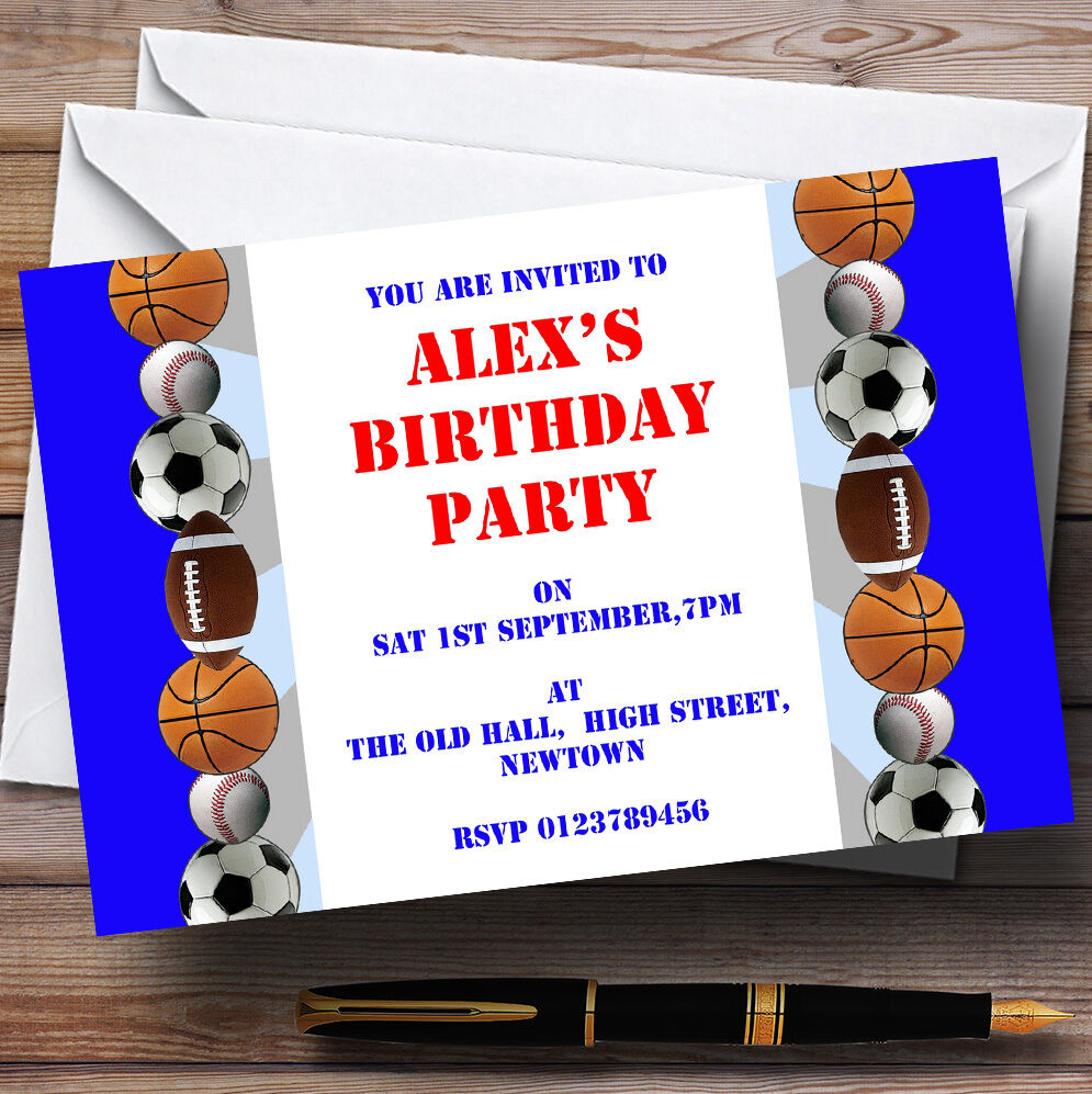 Football Sports Theme Personalised Birthday Party Invitations - Th35