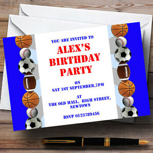 football sports theme personalised birthday party invitations th35