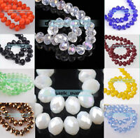 New Bulk Wholesale 30pcs 8x6mm Rondelle Faceted Crystal Glass Loose Spacer Beads