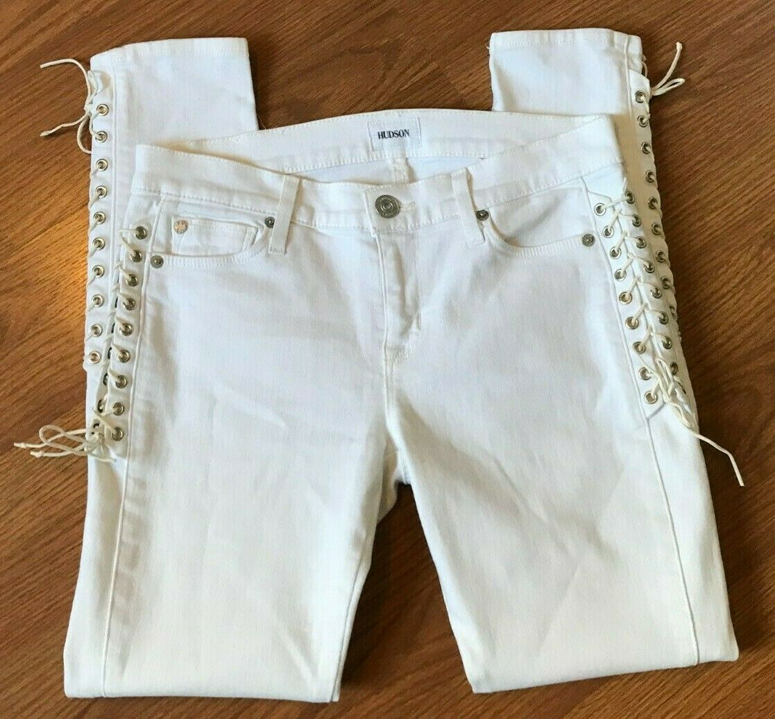 HUDSON JEANS SUKI MID RISE ANKLE SUPER SKINNY LACE UP WHITE TAG 26 - 28 X 27