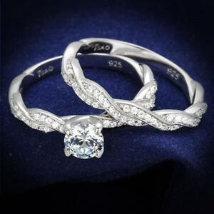 .925 Sterling Silver Round cut CZ Wedding Promise 2PC Ring Twist Band Set