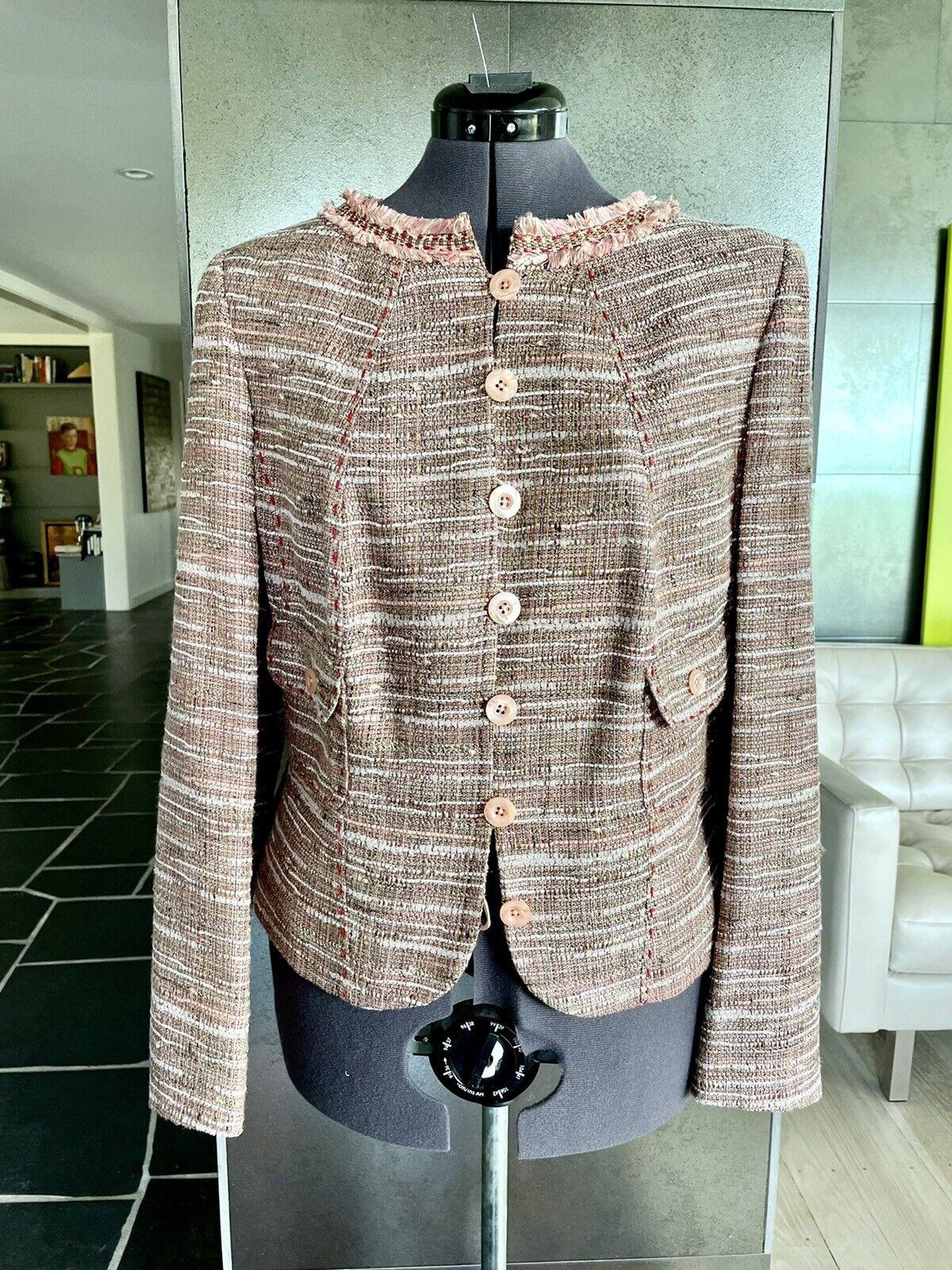 Rare Escada pink Tweed Jacket 46 Whip Stitch, Fringe Neck Silk Lining Excellent