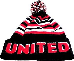 United-Pom-Pom-Hat-Red-White-Black-Bronx-Beanie-Football-Gifts