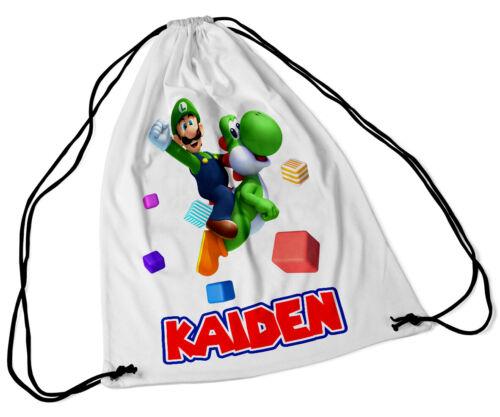 Personalised Drawstring Bag Any Name Luigi Design Swimming School Nursery PE