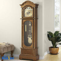 Vintage Grandfather Clock Floor Pendulum Chimes Traditional Home Wood Decor