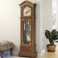 Vintage Grandfather Clock Floor Pendulum Chimes Traditional Home Wood Decor
