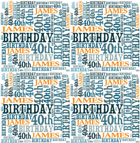 Personalised Gift Wrap Birthday Own Name 40th Any age Word Art Pink or blue