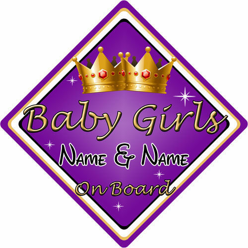 Personalised Child//Baby On Board Car Sign ~ Baby Girls On Board ~ Purple