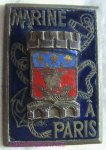 IN8421-INSIGNE-Marine-a-PARIS-rectangle-email-ecu-relief-dos-vaguele