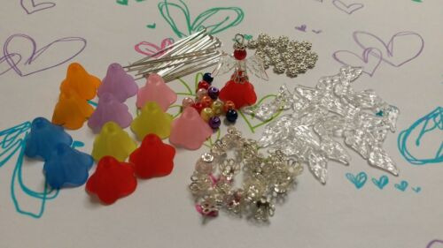 BARGAIN SALE DIY KIT 12 GUARDIAN ANGELS FROSTED FLOWER BEADS FAIRY CHARMS