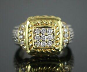 $2,200 Judith Ripka 18k Or Jaune Argent Ronde Pave Diamond Square Ring Band 6-afficher Le Titre D'origine Parfait Dans L'ExéCution