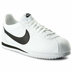 NIKE-CLASSIC-CORTEZ-LEATHER-Men-039-s-Black-White-Sneakers-749571-100