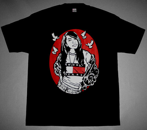 New  Black Red  White Aaliyah One in a million shirt doves Cajmear crew R&B  2XL