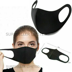 Black Breathable Mask Washable Face Mouth Protection Masks Uk Ebay